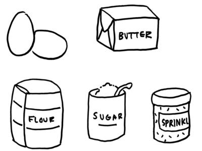 Doughnut ingredients illustration