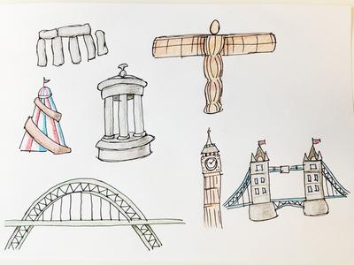 UK icons and landmarks 4 illustration