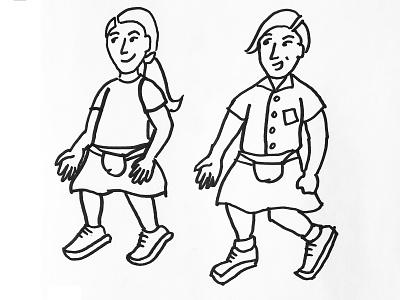 Kilt kids illustration