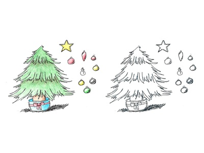 Decorate your own Christmas tree illustration