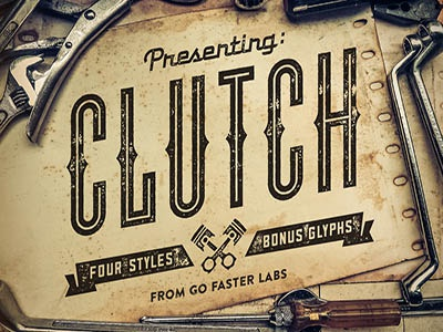 CLUTCH Font Family + Icons glyphs motorcycle vintage retro sans serif typography font type