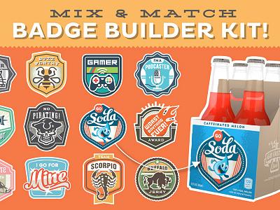 Magnificent Mix & Match Badge Builder Kit labels pins crest vintage sign retro patch icons enclosure emblem badge logo
