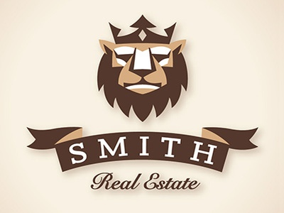 Smith Realty Logo lion crown banner animal cat brown real estate