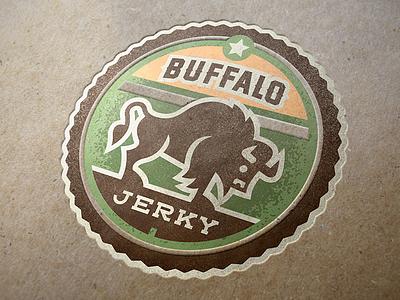 Buffalo Jerky Badge serif fur icon product star logo badge