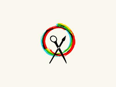 Art and Craft Logo swirl scissors colors brush paint nature colorful logo tree craft art