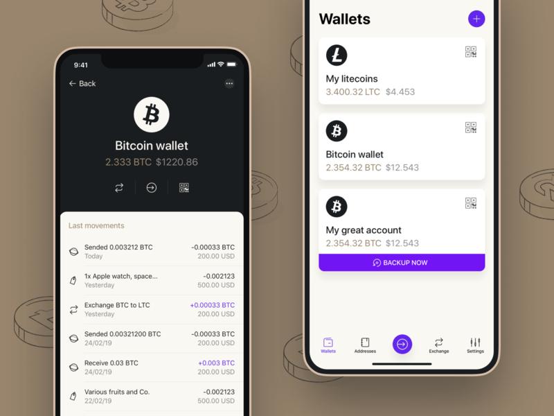 Vertbase app product ios app bitcoin tiempos dark last movements finances crypto wallet app mobile ui ux
