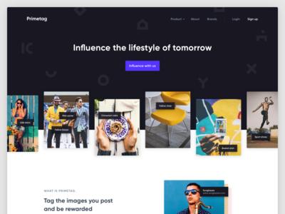 Primetag Website desktop purple gallery hero landing significa ui