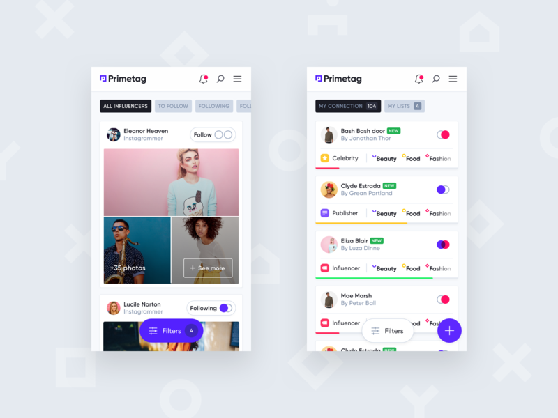Primetag Mobile purple clean gilroy platform cards mobile significa