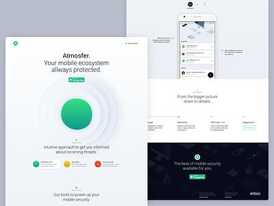 Atmosfer Landing Page Full mobile timeline hero download significa footer green grey desktop landing page