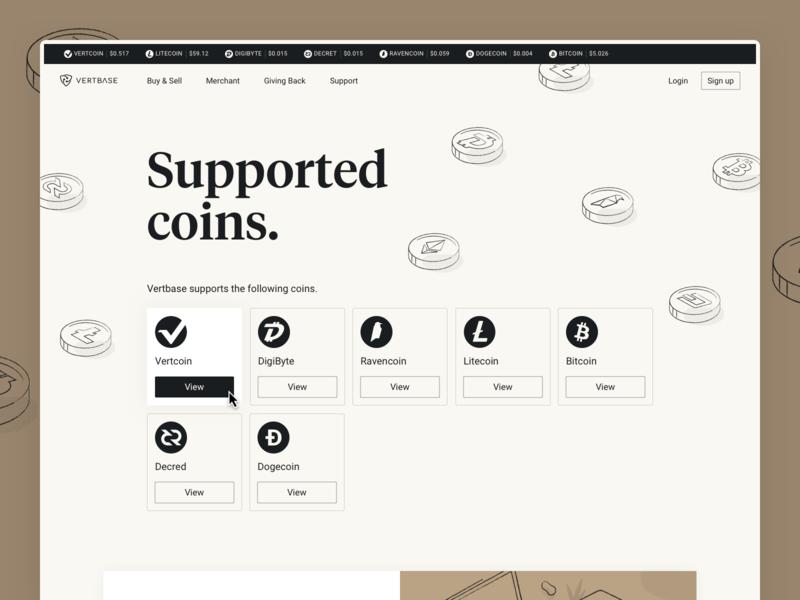 Vetbase Supported Coins serif tiempos cryptocurrency crypto coins landingpage hero desktop