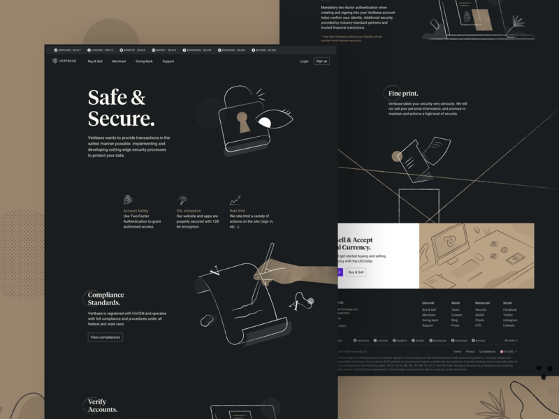 Vertbase Safe & Secure cryptocurrency significa landingpage security hand lock texture gold grid illustrations interface webdesign dark desktop crypto