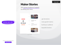 Maker Stories Landing Page coming soon timeline indie hacker side project sign up stories maker landing page