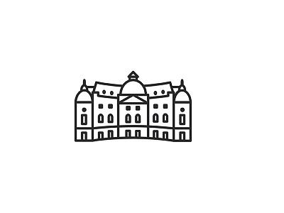 Central University Library art deco architecture building branding set symbol city icon design icon