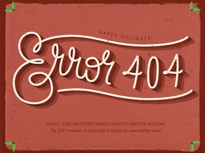Happy error holidays lettering illustration visual design ux ui new year 2016 christmas 404 page error holidays