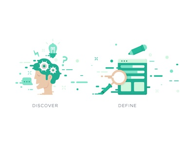 Double Ds ui ux thinking work creativity process illustration define discover