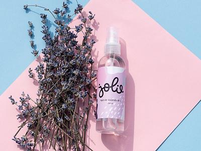 Jolie Brand cosmetics pastel abstract pattern lettering logotype logo branding lavender