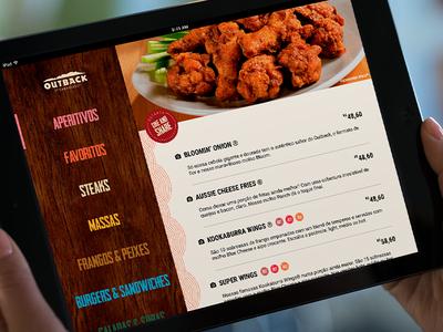 Outback menu on iPad dailyui menu food ux ui inspiration application app tablet ios ipad outback