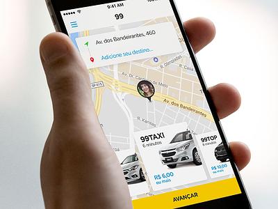 99 App Redesign slider menu map uber taxi application ux ui mobile redesign app 99