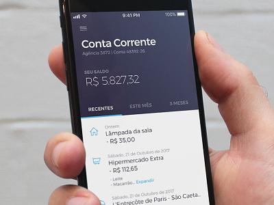 Extrato Banco Digital #dailyui flat android ios iphone app mobile dailyui ui timeline money invoice bank
