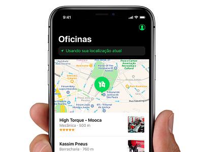 Oficinas List profile home location ios 11 pin map list car repair oficinas ui design iphone