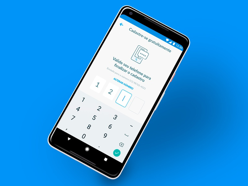 SMS code Input app interface ui android sign in sing up login keypad input code sms getninjas