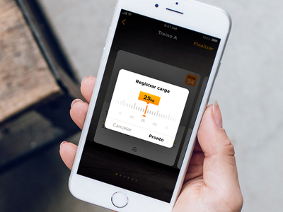 Registrar carga smart fit fitness app fit modal concept fitness weight ux design component alert application ios iphone dailyui ui app