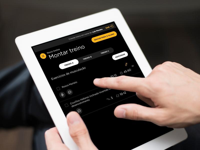 Workout Tablet interface ui mobile app teacher coach fitness training workout tablet smart fit