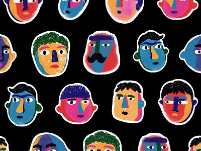 handsome bois guys faces heads boys art procreate illustration seamless design pattern