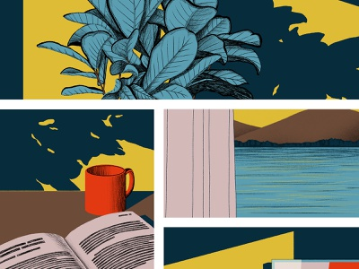 silence house room limited colour palette peaceful panels comic silence photoshop illustration