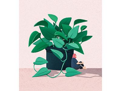 pothos chilling art concept pot woman girl pothos plant photoshop illustration