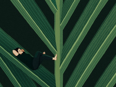 chillin girl woman meditation calm quiet napping sleeping relaxing chilling areca leaf palm plant photoshop illustration