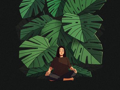 monstera quiet peaceful calm meditation art concept leaves monstera plants photoshop illustration