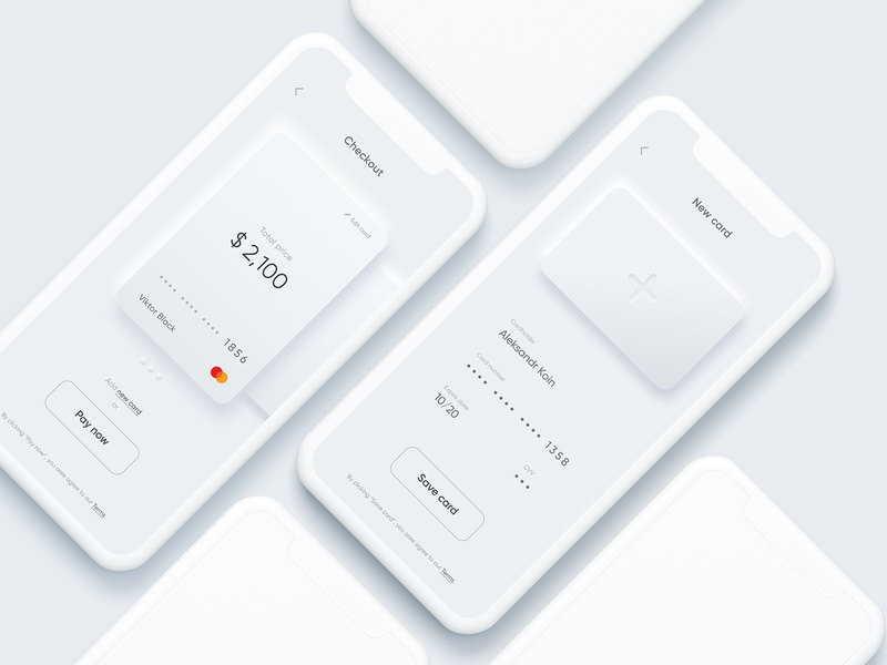 Credit card checkout in Neumorphism uidesign daily 100 challenge figma clean ui 2020 trend 2020 trend 002 dailyui minimalism checkout credit card neumorphic design neumorphism ux ui interface ios app