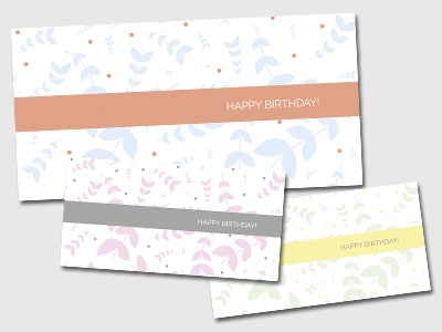 Birthday card designs minimal design graphic vector pack multi colour leaf leaves pattern