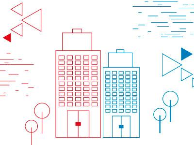 City vectors minimal design graphic artwork vector blue red lines city buildings
