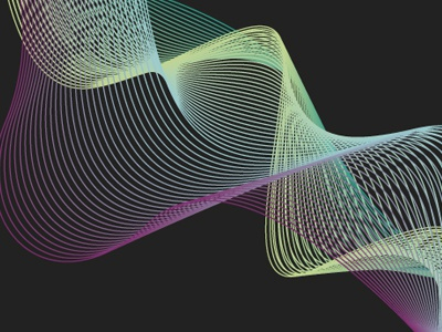 Multi Wave experiment blue green yellow pink colours vector pattern lines particle wave