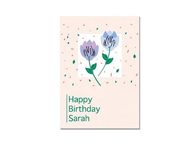 Card design I birthday illustrator leaves minimal simple floral flowers design art vector birthday card