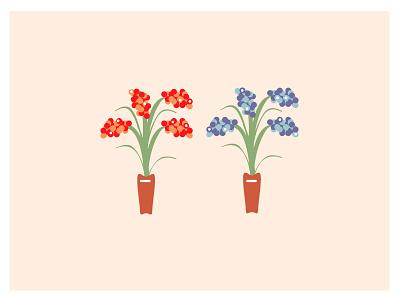 Plants in a pot project wip blue red floral illustrator creative design digital illustration flowers plants