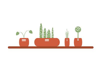 Green potted plants illustrate indoor flowers design illustrator vector green leaves plants
