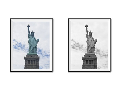 Colour VD Greyscale – Statue Liberty home interior architecture black and white greyscale colour prints photography travel statue liberty america