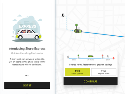 Ola - Share Express illustration location rides cabs app design ocd interaction ui express share ola