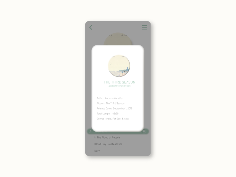 Pop-Up / Overlay - DailyUI 016 pop-up overlay popup music app music player design dailyui light theme minimal interface app ux ui illustration