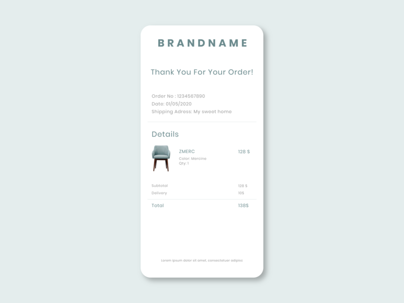 Email Receipt - DailyUI 017 e commerce ecommerce order receipt email receipt flat design dark theme dailyui light theme minimal interface app ux ui design illustration