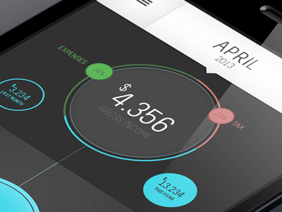 Income App2 income accountant app ui ux circle thomino tz studios iphone android smartphone