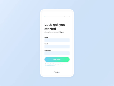 ClickAi Signup + Onboarding form login startup app css html animation minimal website builder signup ui ux ai clickai