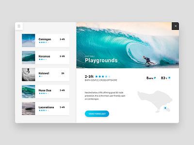 Surf Spot Guide forecast weather travel web minimal clean app website surf ux ui
