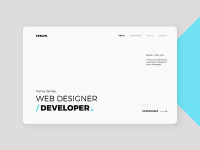 Resume - ClickAi animation web web design css html app experience white blue presentation website typography minimal cv resume ux ui