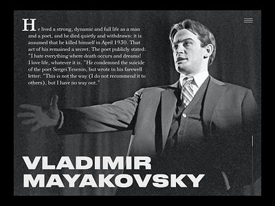 Mayakovsky writer russia russian bold classic literature mayakovski figma black and white webdesign website clean simple design user interface ui type typography
