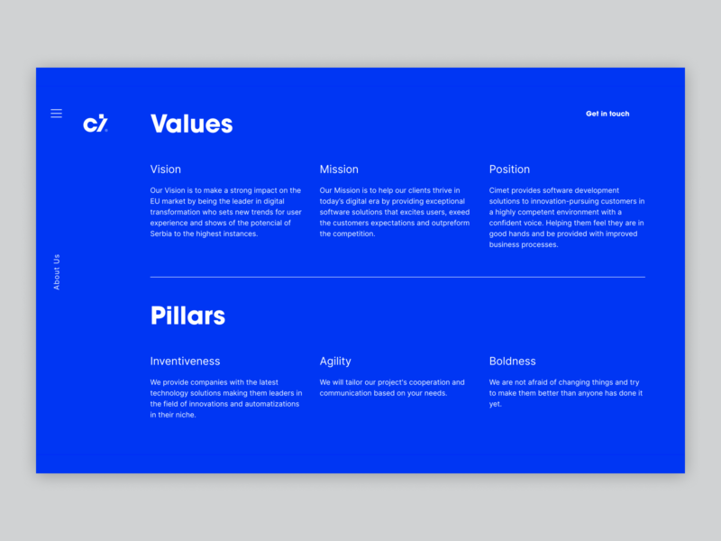 Cimet - Values & Pillars product values ux user experience design user interface design clean ui blue clean motion design motion user experience figma website type design animation ui webdesign user interface typography
