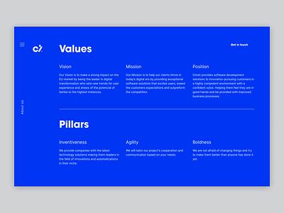 Cimet - Values & Pillars product values ux user experience design user interface design clean ui blue clean motion design motion user experience figma website type design animation ui webdesign user interface typography